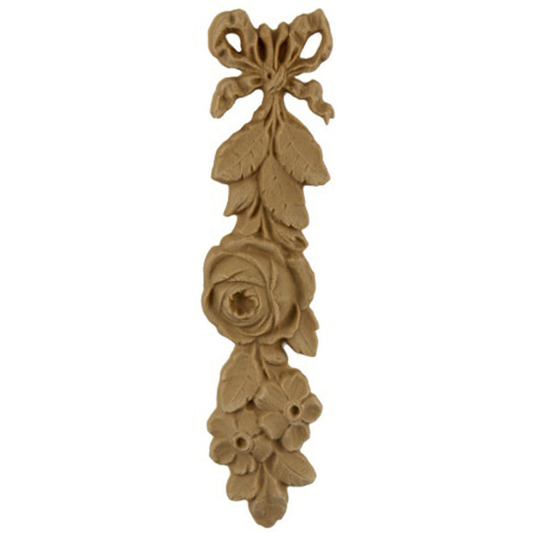 "Decorative 1-1/2""(W) x 5-3/4""(H) - Ornate Rose Vertical Drop Applique for Wood - [Compo Material] - Brockwell Incorporated"