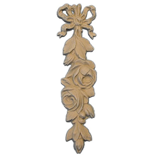 "Decorative 1-1/4""(W) x 4-3/4""(H) - Rose Vertical Drop Applique for Woodwork - [Compo Material] - Brockwell Incorporated"