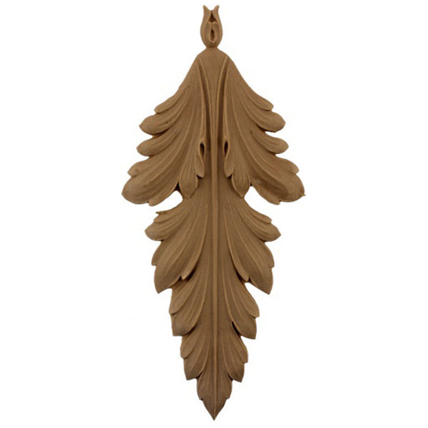 "Decorative 4-1/4""(W) x 9-1/2""(H) - Acanthus Leaf Vertical Drop Applique - [Compo Material] - Brockwell Incorporated"