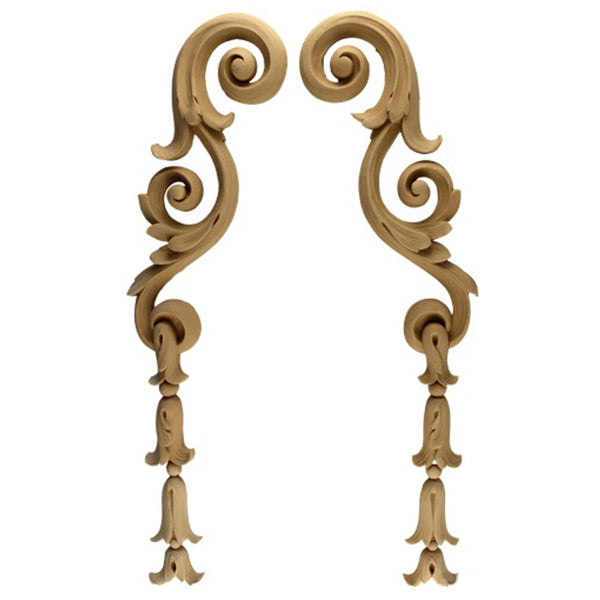 "Decorative 3-1/2""(W) x 19-1/4""(H) x 5/8""(Relief) - Bell Flower Drop Applique (PAIR) - [Compo Material] - Brockwell Incorporated"