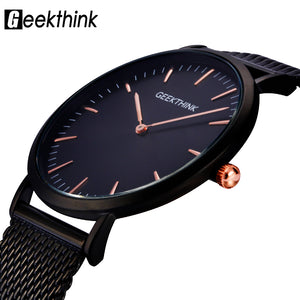 GEEKTHINK Mens Watch Black Stainless Steel