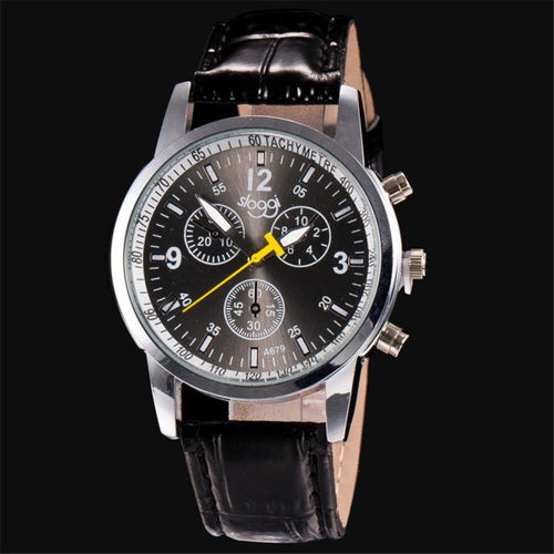Luxury Fashion PU Leather Mens Watch