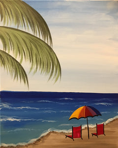 """Beach Vacation"" 7:00 pm Friday, May 03rd, 2019 Paint & Sip BYOB"