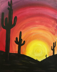 """Cactus Sunset""   7:00 pm Thursday, September 26th, 2019"