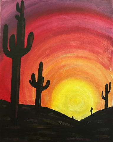"""Cactus Sunset""   7:00 pm Friday, May 24th, 2019 Sip & Paint BYOB"