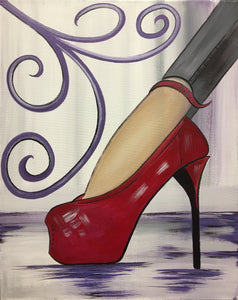 """High Heel"" 7:00 pm Saturday July 27th, 2019 Sip & Paint BYOB"
