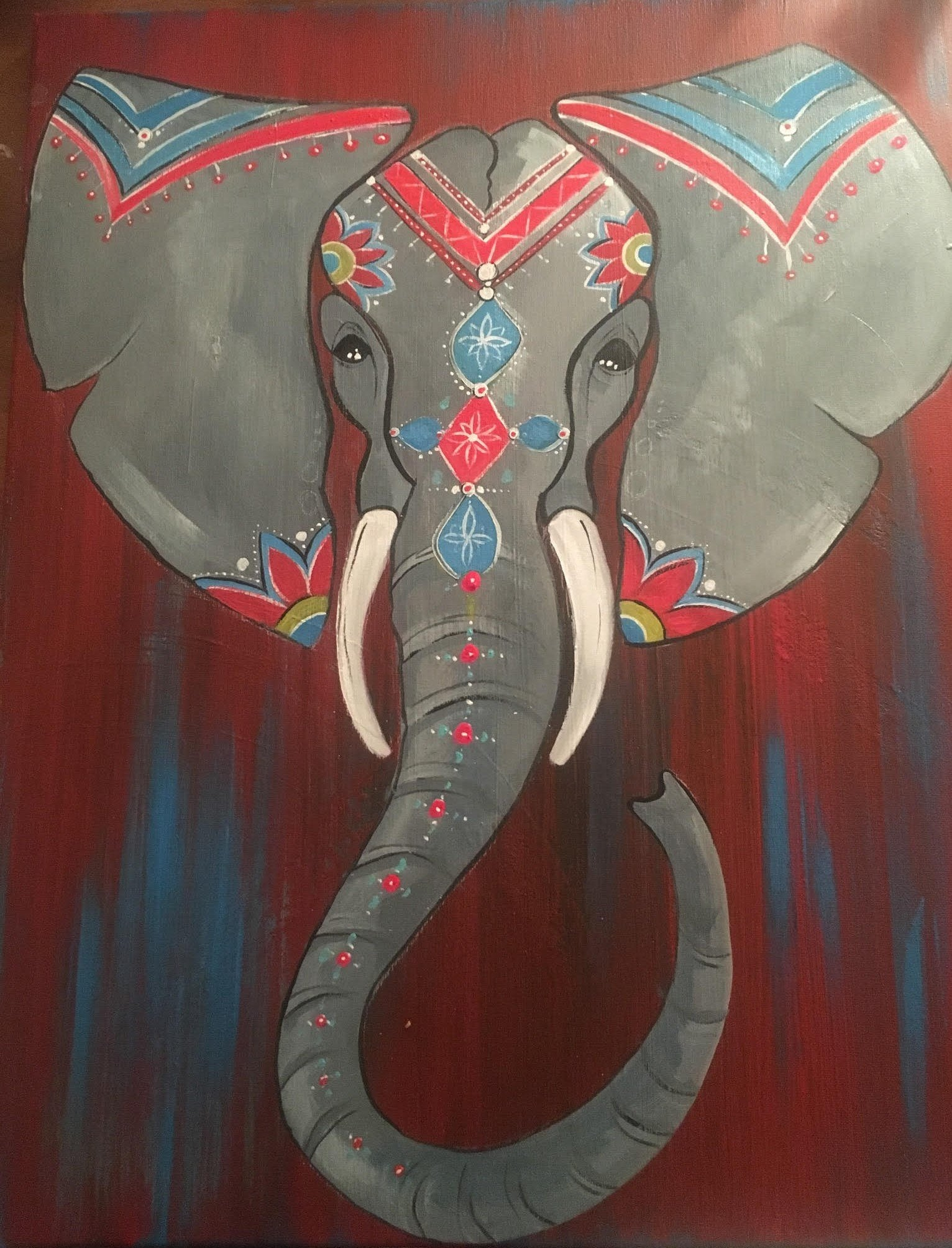 """Mandala Elephant""    7:00 pm Friday, October 26, 2018 Sip & Paint BYOB"