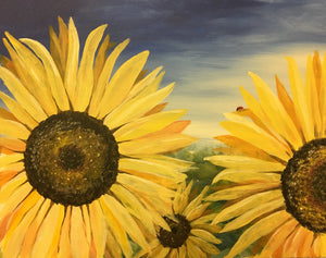 """Sunflowers"" 7:00 pm Saturday, April 27th, 2019 Paint & Sip Party BYOB"