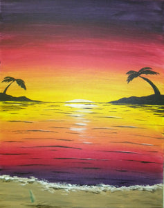"""Sunset Beach""  7:00 pm Saturday, March 23rd, 2019 Sip & Paint BYOB"