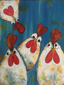 """Peek-a-Boo Chicks""   2:00 pm Sunday, Oct 28, 2018 BYOB Paint & Sip Party"