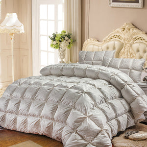 White Goose Down Quilt luxury quilting  Comforter solid color linens Twin/Queen/King Size