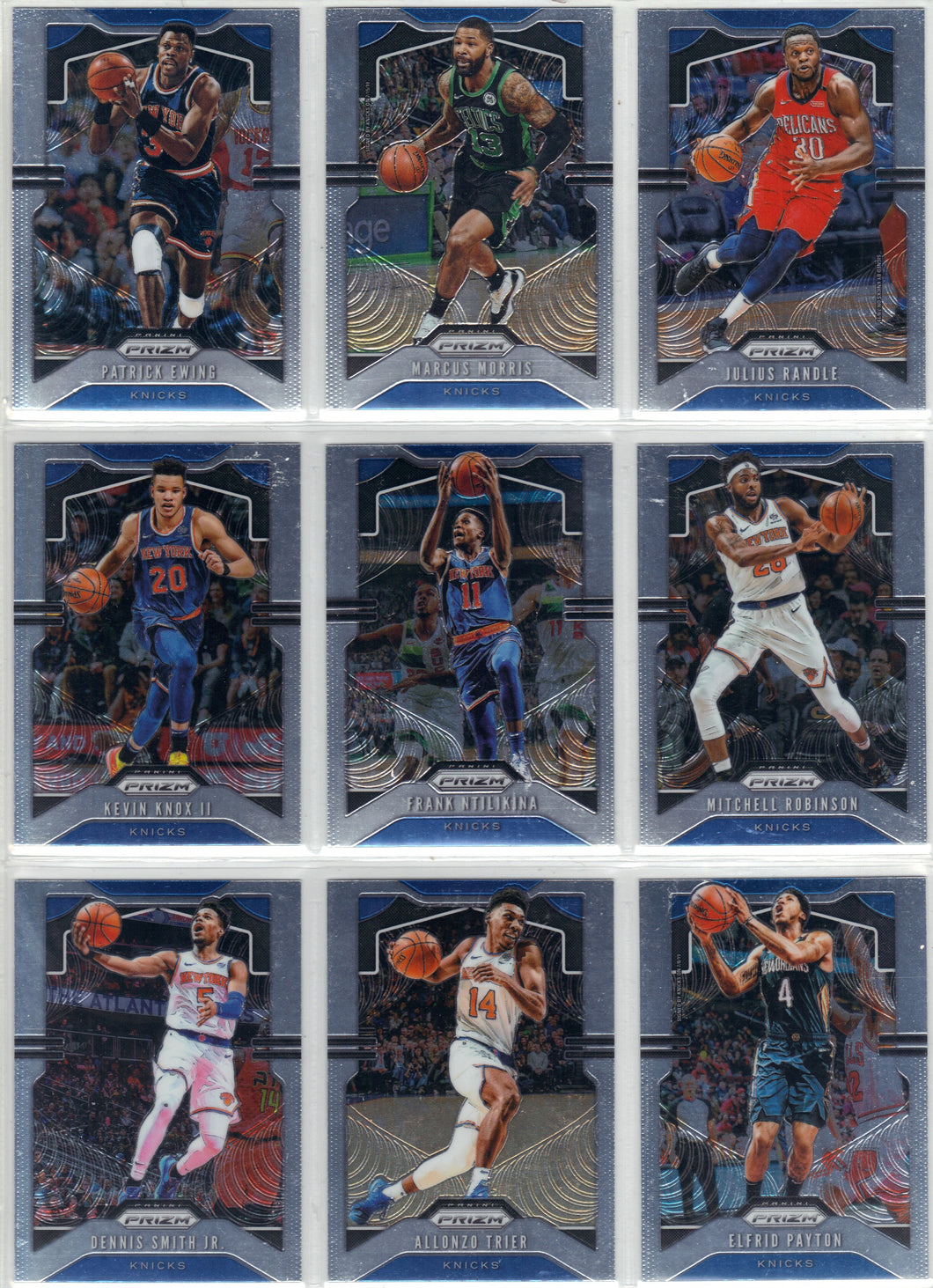 2019-20 Prizm New York Knicks NBA Basketball Cards Team Set