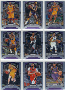 2019-20 Prizm Los Angeles Lakers NBA Basketball Cards Team Set