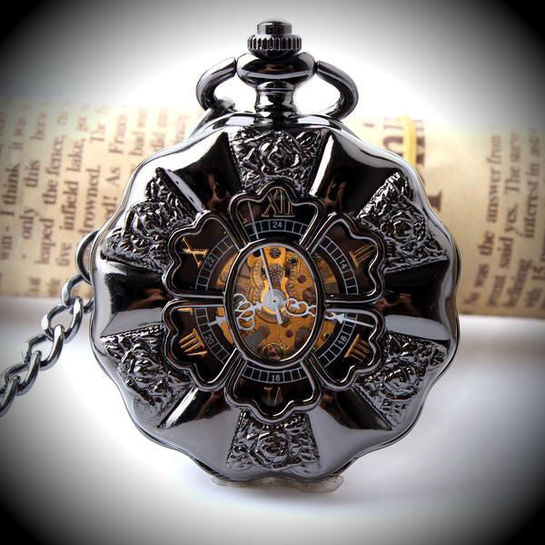 Black Steel Pocket Watch