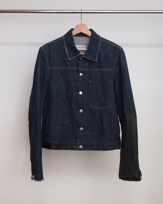 Helmut Lang 1 Pocket Denim Jacket with Leather Detail 2003 46