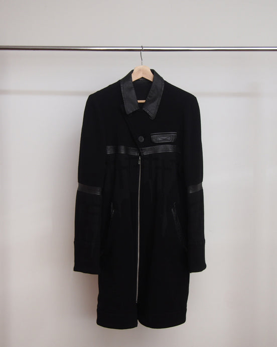 Undercover Wool Coat with Leather Details AW96