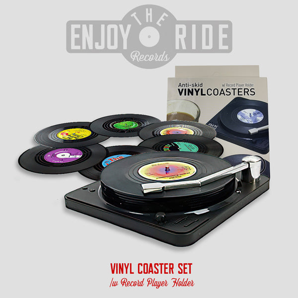 Vinyl Record Coasters with Record Player Holder - 6Packs