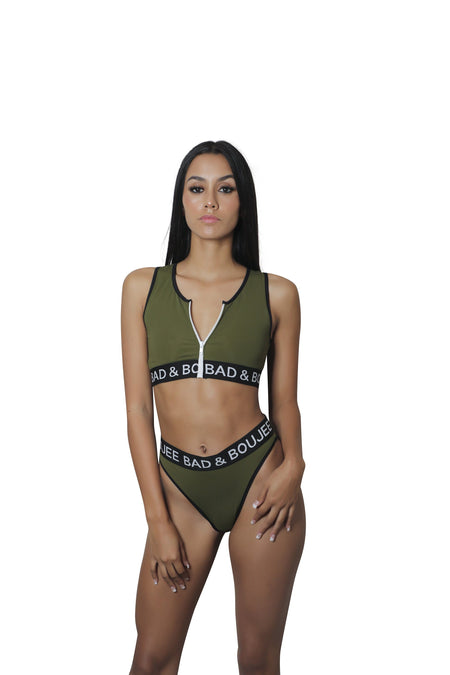 Army Green Zipper collection  piece w thong