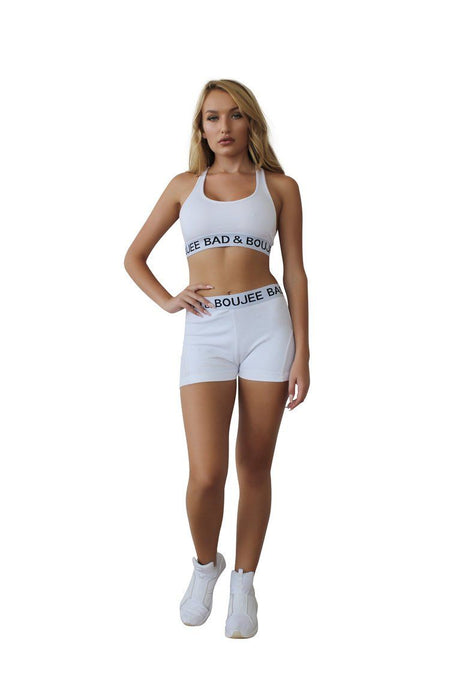 Athletic Dry Fit Sports bra set with Shorts White