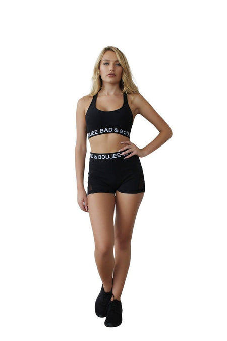 Athletic Dry Fit Sports bra set with mesh back and Shorts Black
