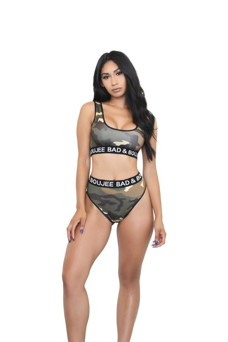 2 piece high waisted camo