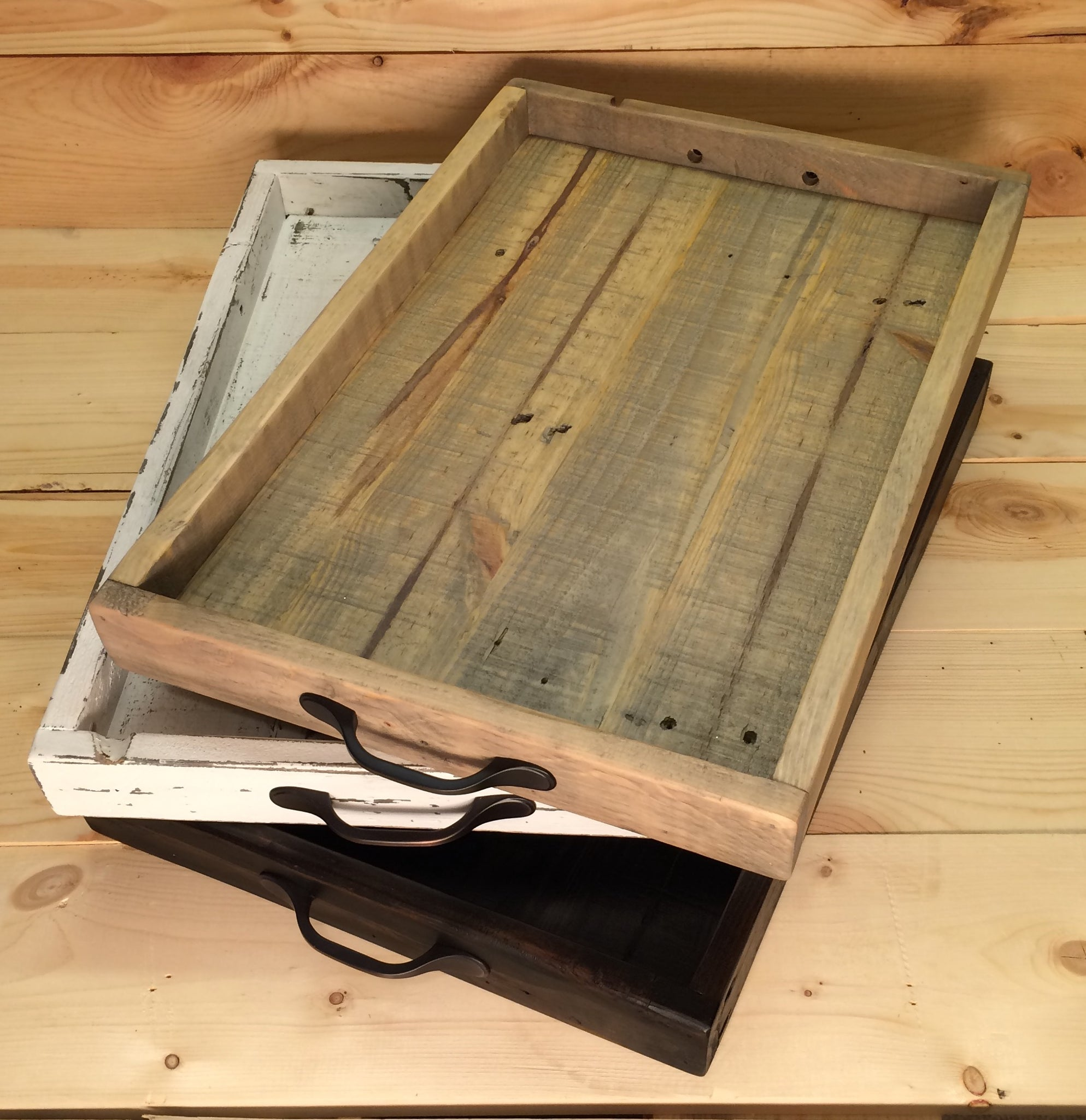 New Rustic Serving Tray, Ottoman Tray,Serving Tray With Handles, Wood  MS76