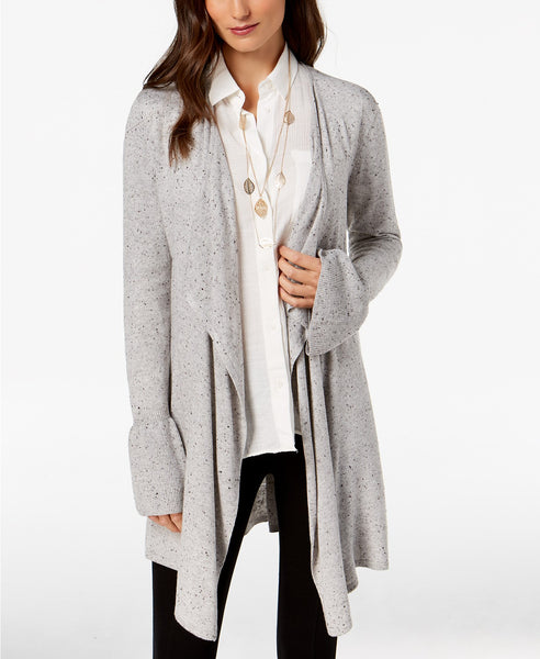 Style & Co Sweater Ruffle Sleeve Tweed Cardigan Gray PXL