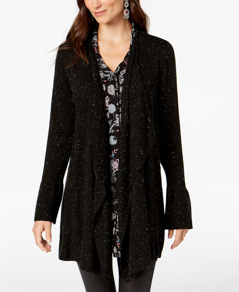 Style Co Bell-Sleeve Draped Cardigan Deep Black Xl