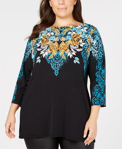 JM Collection Plus Size Embellished Printed Kaitlyn Cascade 3X