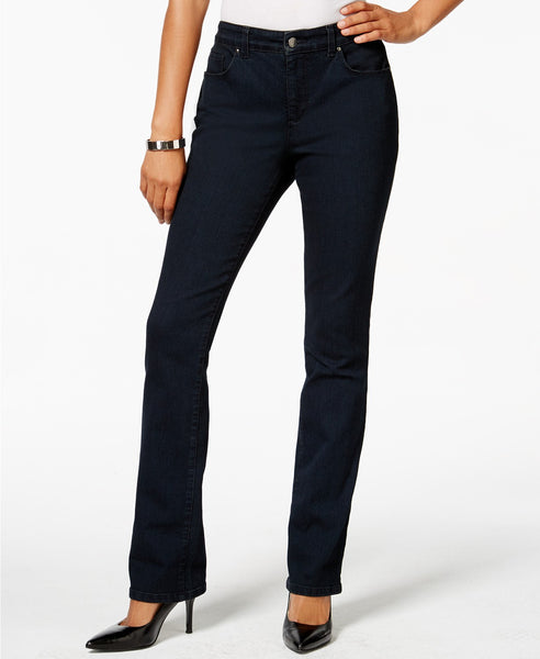 Charter Club Tummy-Slimming Straight-Leg Je Indigo Blue 10S