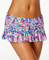 Kenneth Cole Reaction Multicolor Ruffled Swim Skirt White L