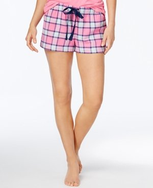 Jenni Cotton Flannel Pajama Shorts Pink Plaid XS