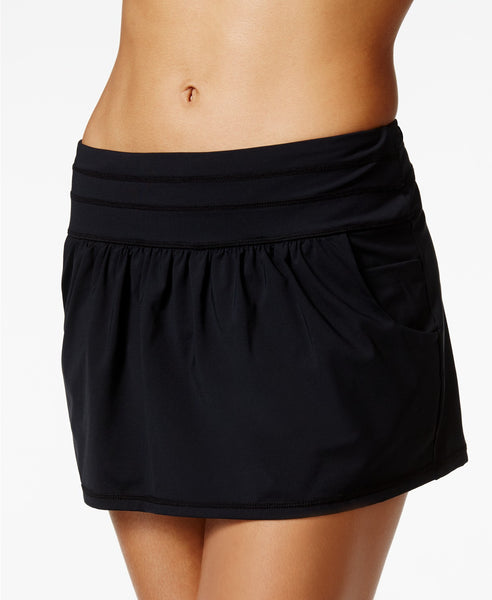Anne Cole Pocketed Solid Swim Skirt Navy M