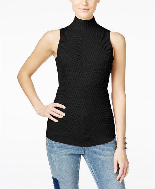 INC International Concepts Petite Ribbed Mock-Neck Sweate Deep Black PM