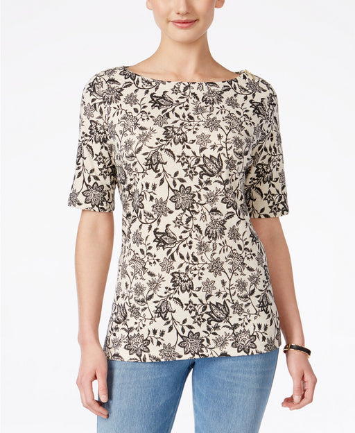 Karen Scott Petite Floral-Print Boat-Neck Oatmeal Heather PL