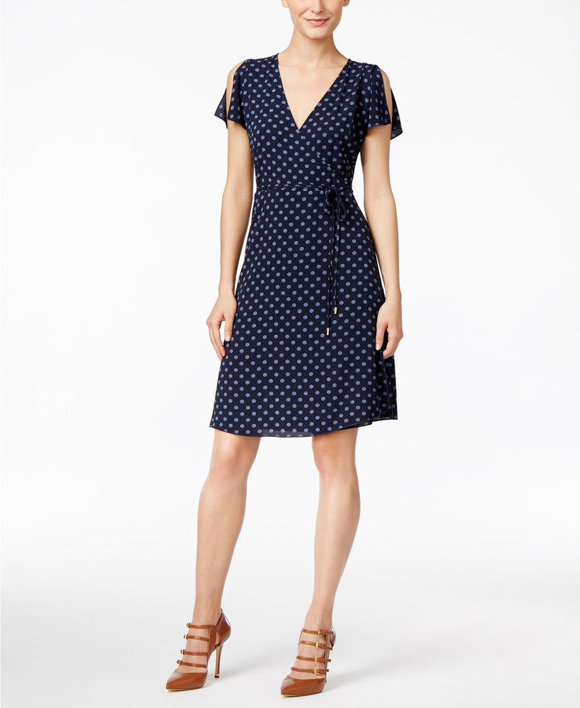 Michael Kors Petite Printed Split-Sleeve Wr New Navy 12P