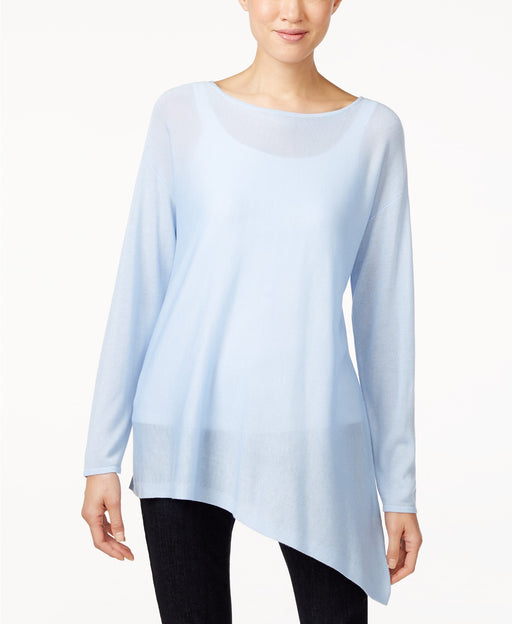 Eileen Fisher Asymmetrical Boat-Neck Top Morning Glory PS