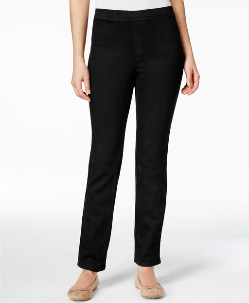 Karen Scott Straight-Leg Faux-Denim Pants Black Wash PM