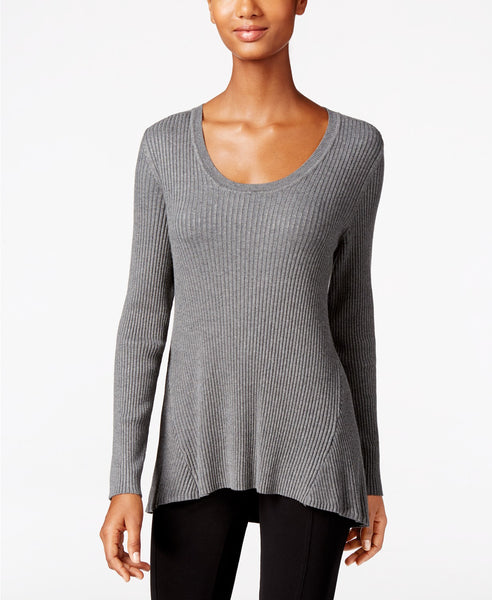 Style Co Petite Scoop-Neck Sweater Steel Grey Heather PL