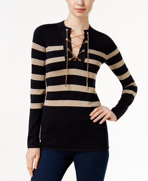 Michael Kors Petite Striped Lace-Up Chain S New Navy PM