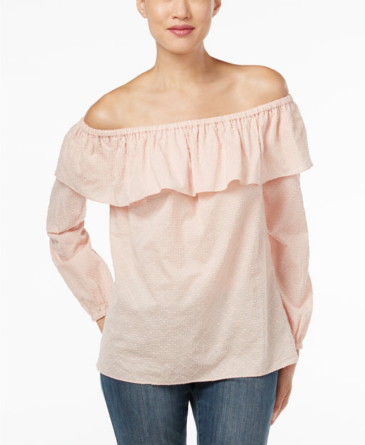 Michael Kors Petite Off-The-Shoulder Flounc Rose Water PXS