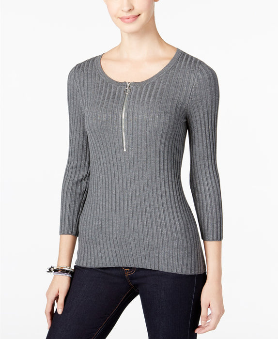 INC International Concepts Petite Zip-Up Ribbed Sweater Medium Grey Heather PM