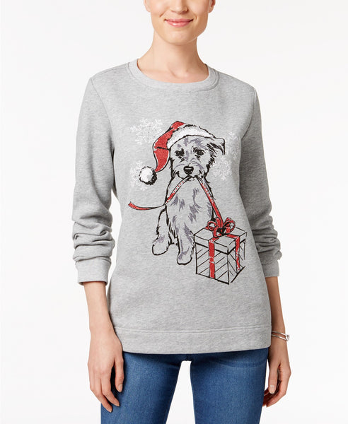 Karen Scott Petite Holiday Dog Sweatshirt Smoke Grey PL