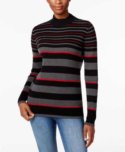 Karen Scott Petite Striped Ribbed Sweater New Red AmoreBlack PS