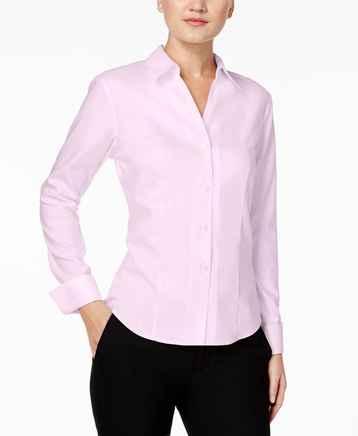 Calvin Klein Shirt, Long-Sleeve Fitted Pink 8