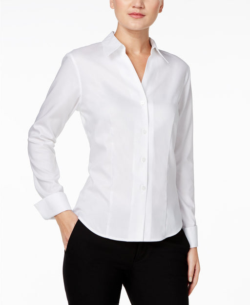 Calvin Klein Shirt, Long-Sleeve Fitted White 6