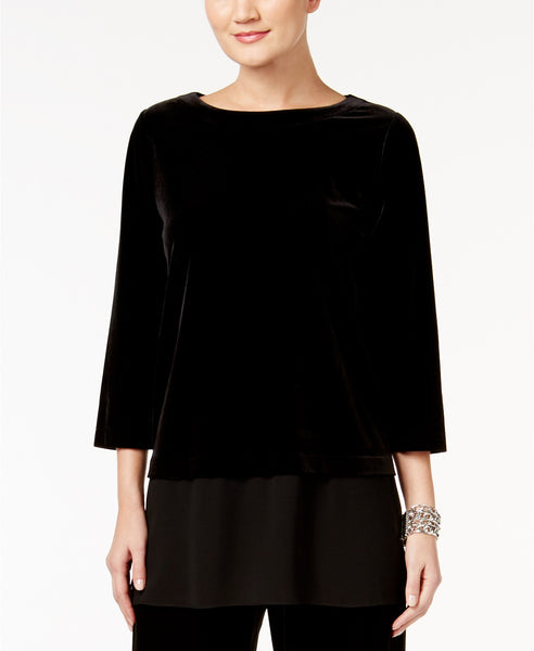 Alfani Petite Layered-Look Velvet Top Deep Black PXL