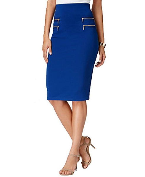 Olivia Grace Zip-Pocket Pencil Skirt Sodalite Blue S