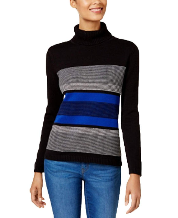 Karen Scott Cotton Striped Turtleneck Sweater Bright Blue Combo L