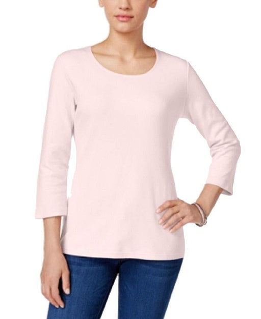 Karen Scott Three-Quarter-Sleeve Solid Top Blush M